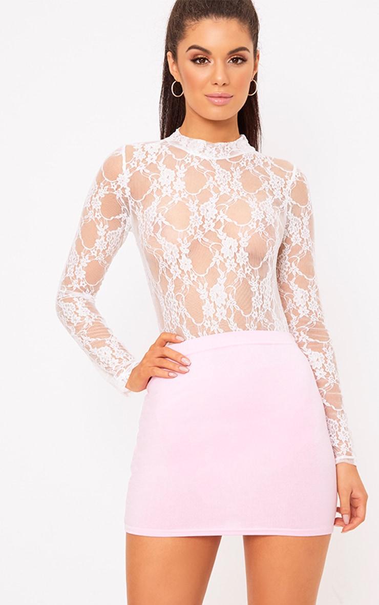 Baby Pink Basic Mini Skirt 1