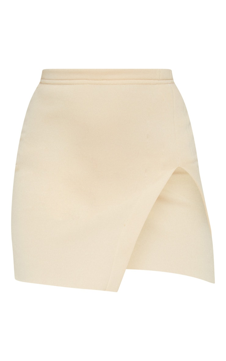 Cream Split Sweat Detail Mini Skirt 3