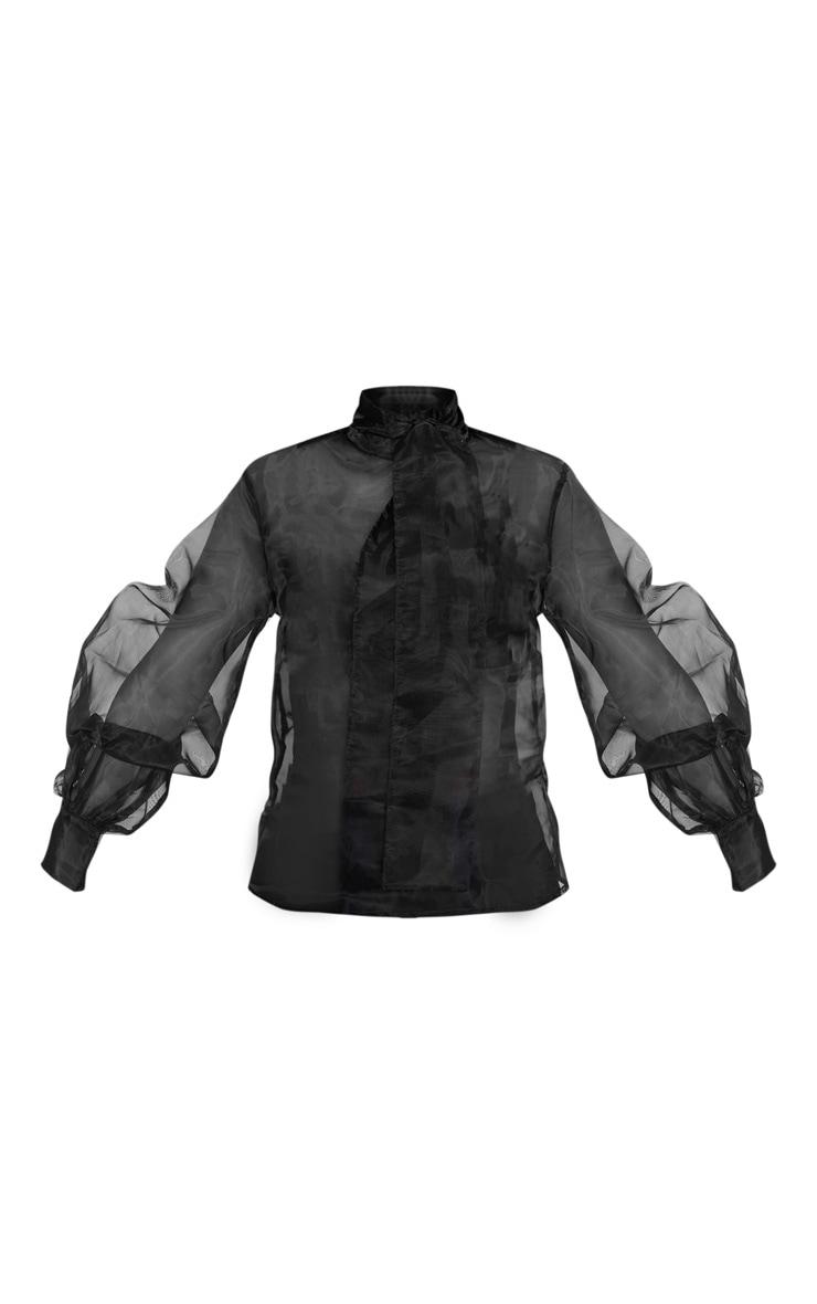 Petite Black Organza Puff Sleeve Blouse 3