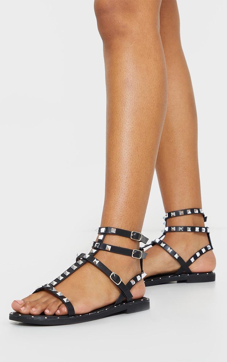 Black PU Studded Gladiator Sandals 2