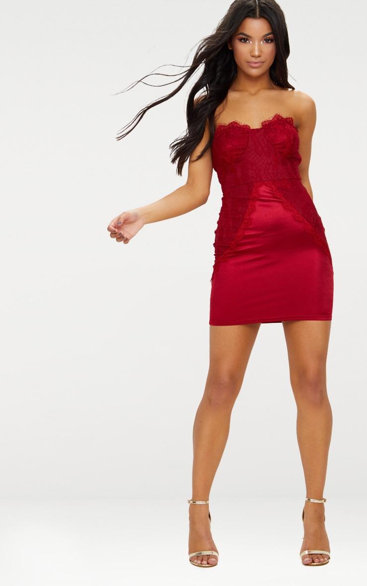 Dark Red Lace Panel Satin Bandeau Bodycon Dress 4