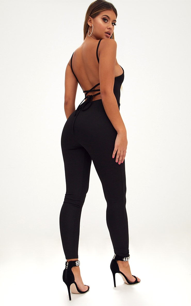 Black Strappy Back Jumpsuit  1