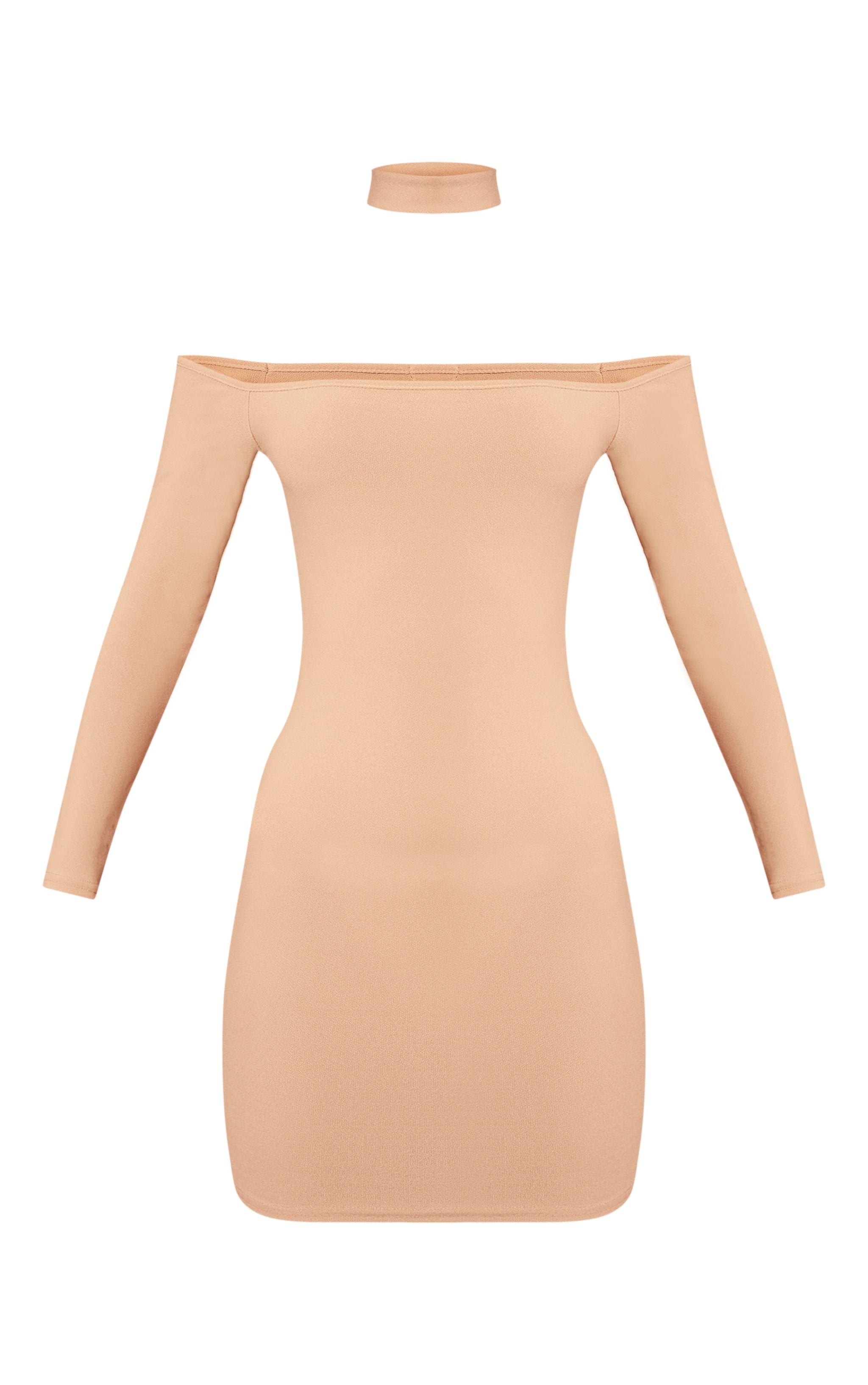 Stone Bardot Choker Detail Long Sleeve Bodycon Dress 3