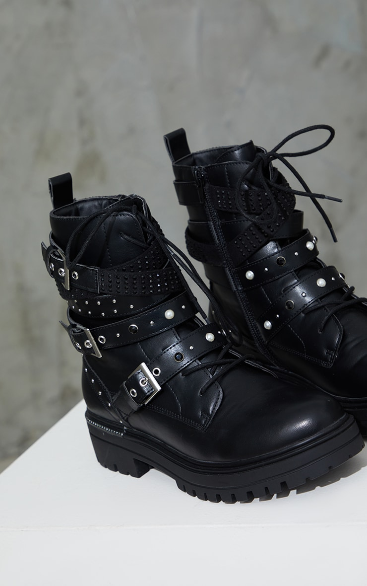 Black PU Buckle Triple Strap Chunky Sole Biker Boots 4