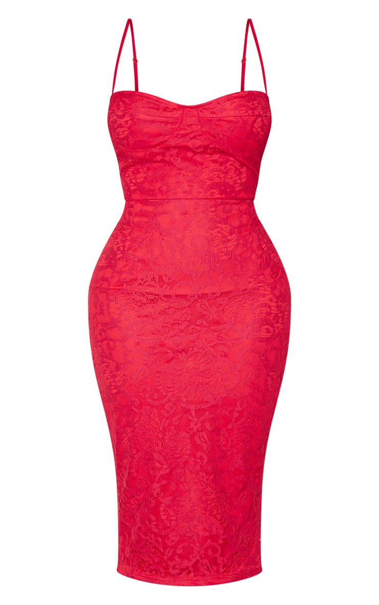 Shape Red Lace Cup Detail Midi Dress 3