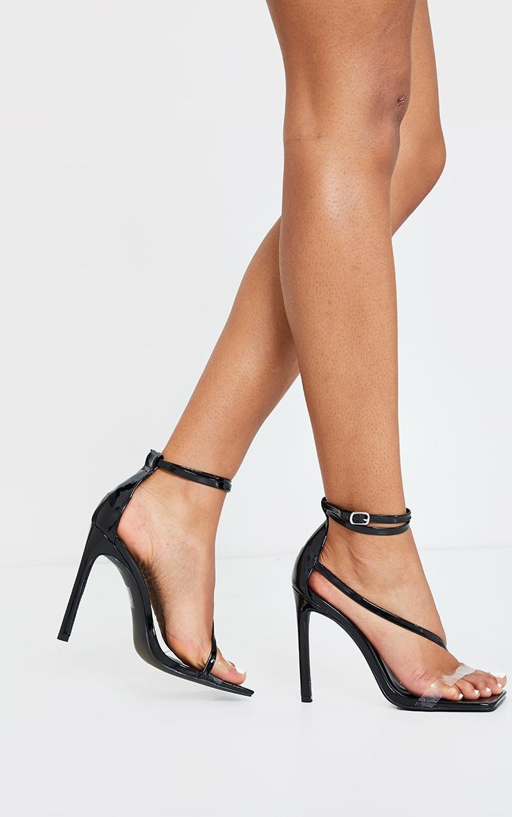 Black Wide Fit Square Toe Asymmetric Strap Sandals 3