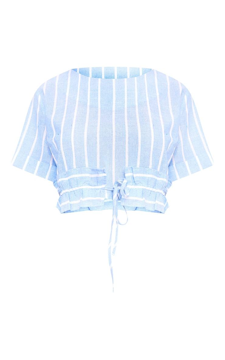 Blue Stripe Drawstring Frill Crop Top  3