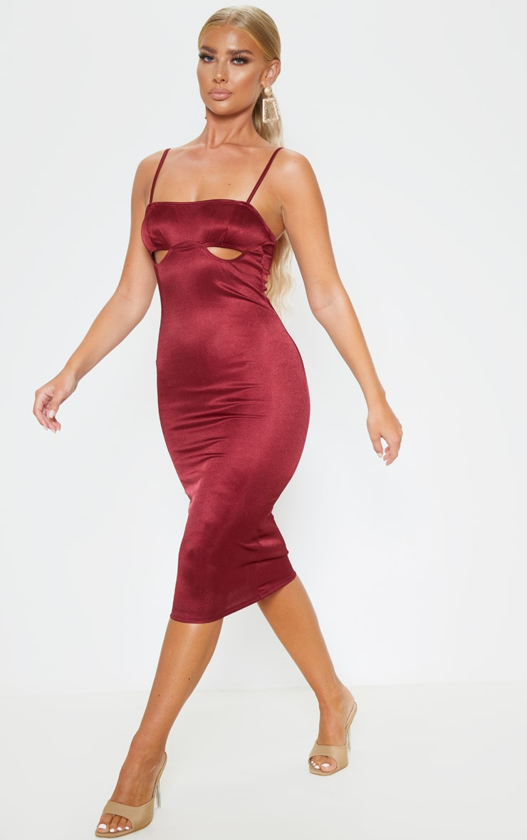 Burgundy Shimmer Strappy Cut Out Cup Midi Dress 1