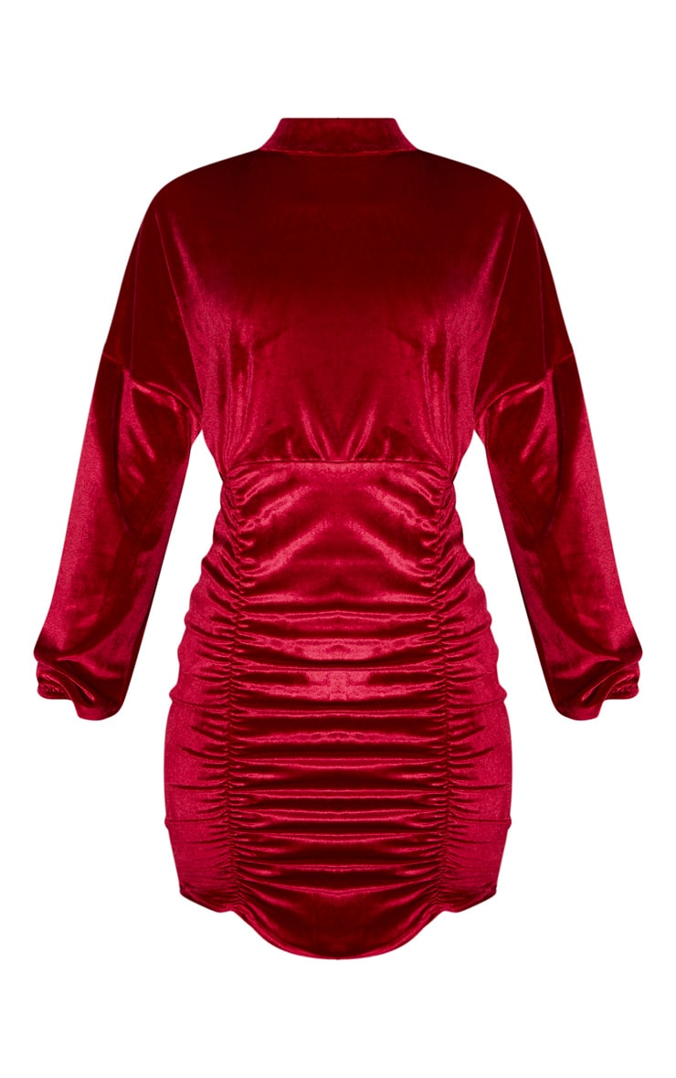 Burgundy Velvet High Neck Long Sleeve Ruched Bodycon Dress 3
