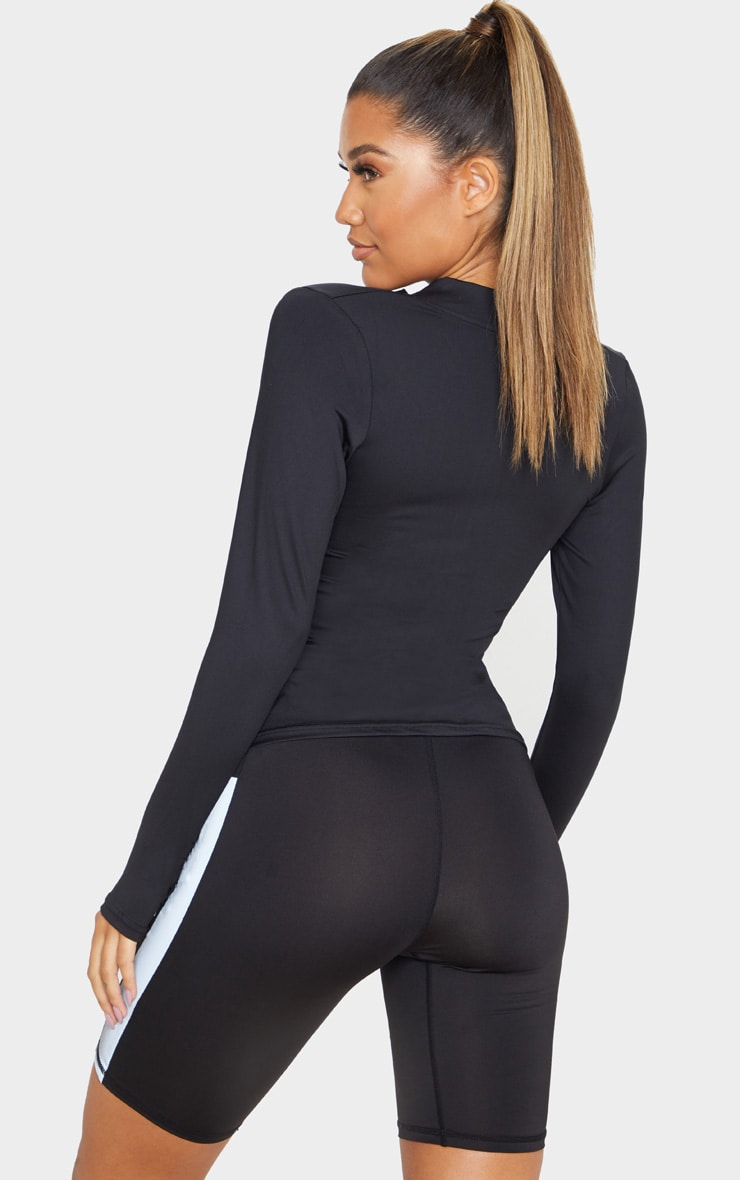 PRETTYLITTLETHING SPORT Black Reflective Zip Up Sports Top 2