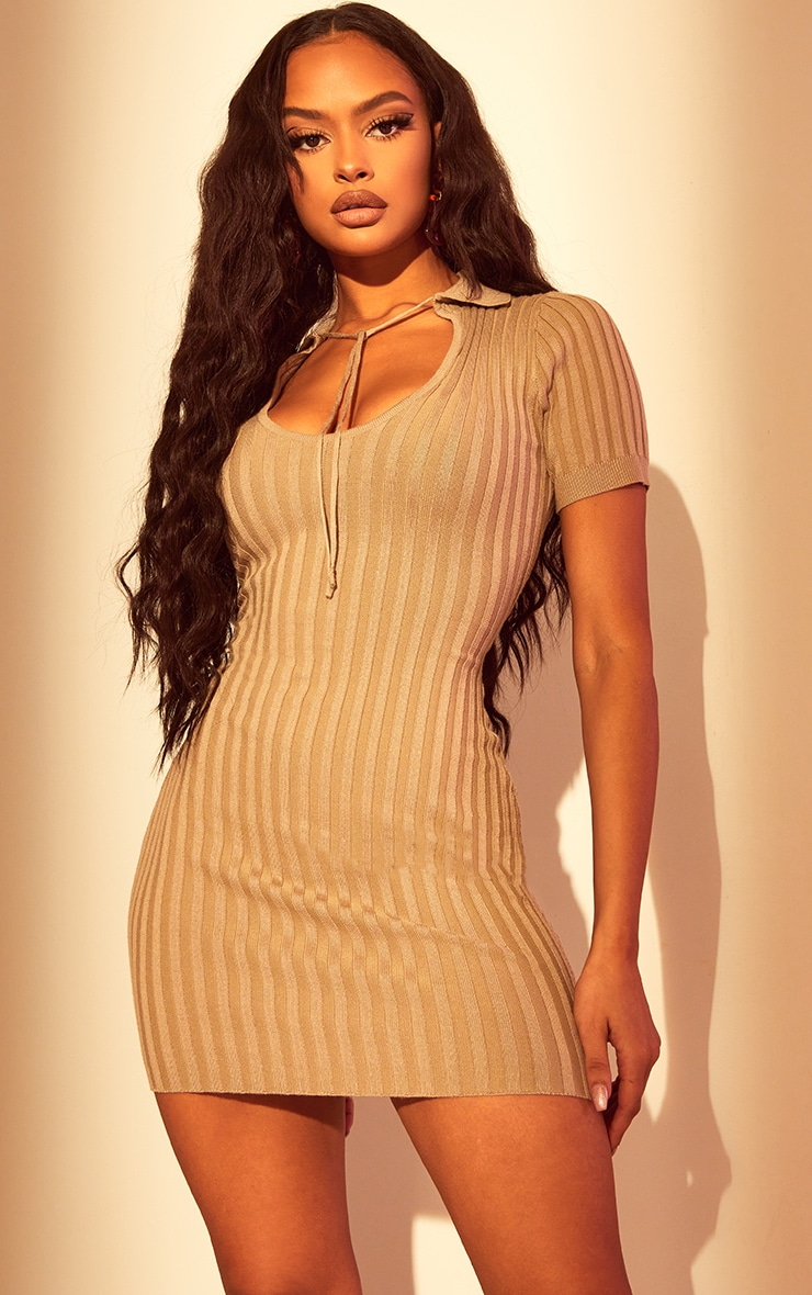 Stone Knitted Collar Tie Bodycon Dress 1