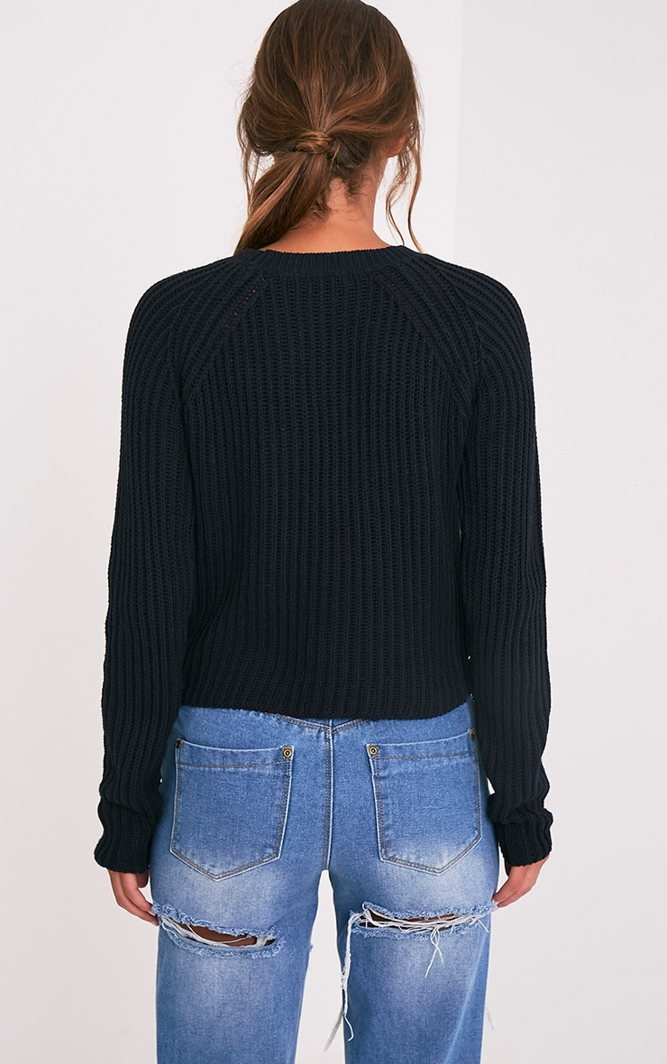 Tanae Black Lace Up Side Crop Jumper 2