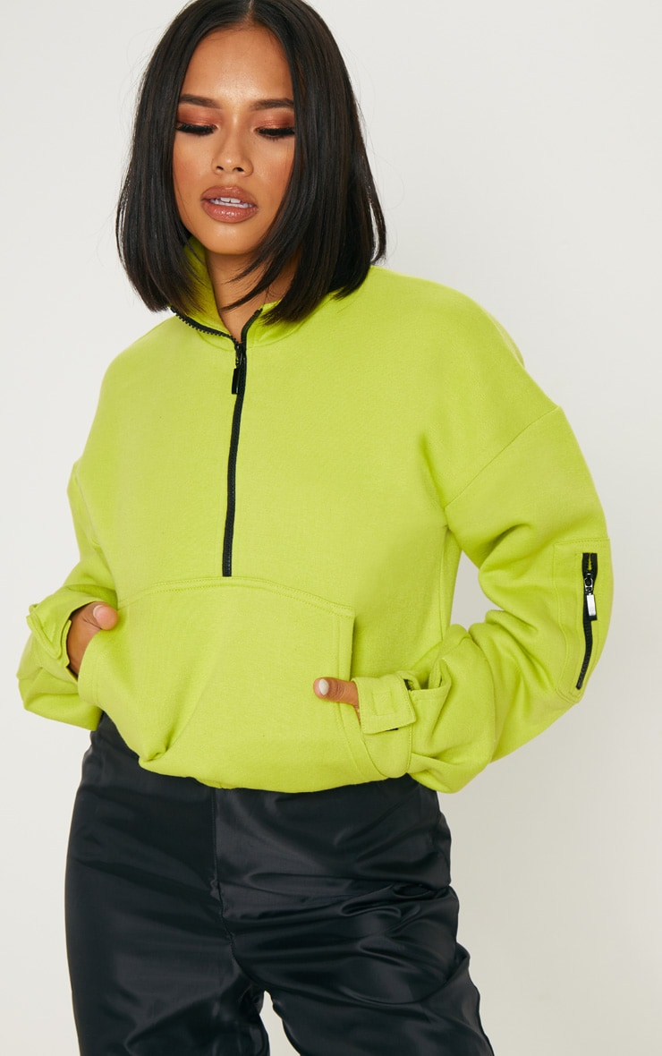 Sweat oversized vert citron à zip frontal 1