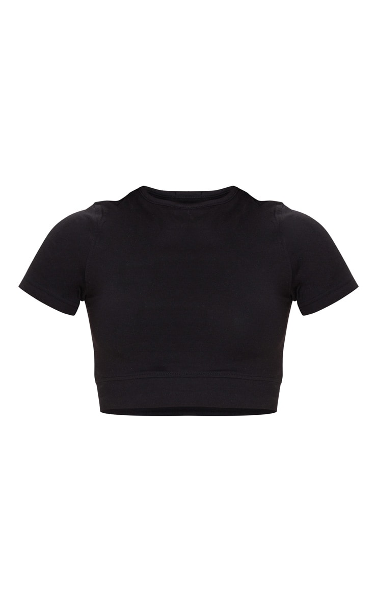Basic Black  Cotton Cropped T Shirt 5