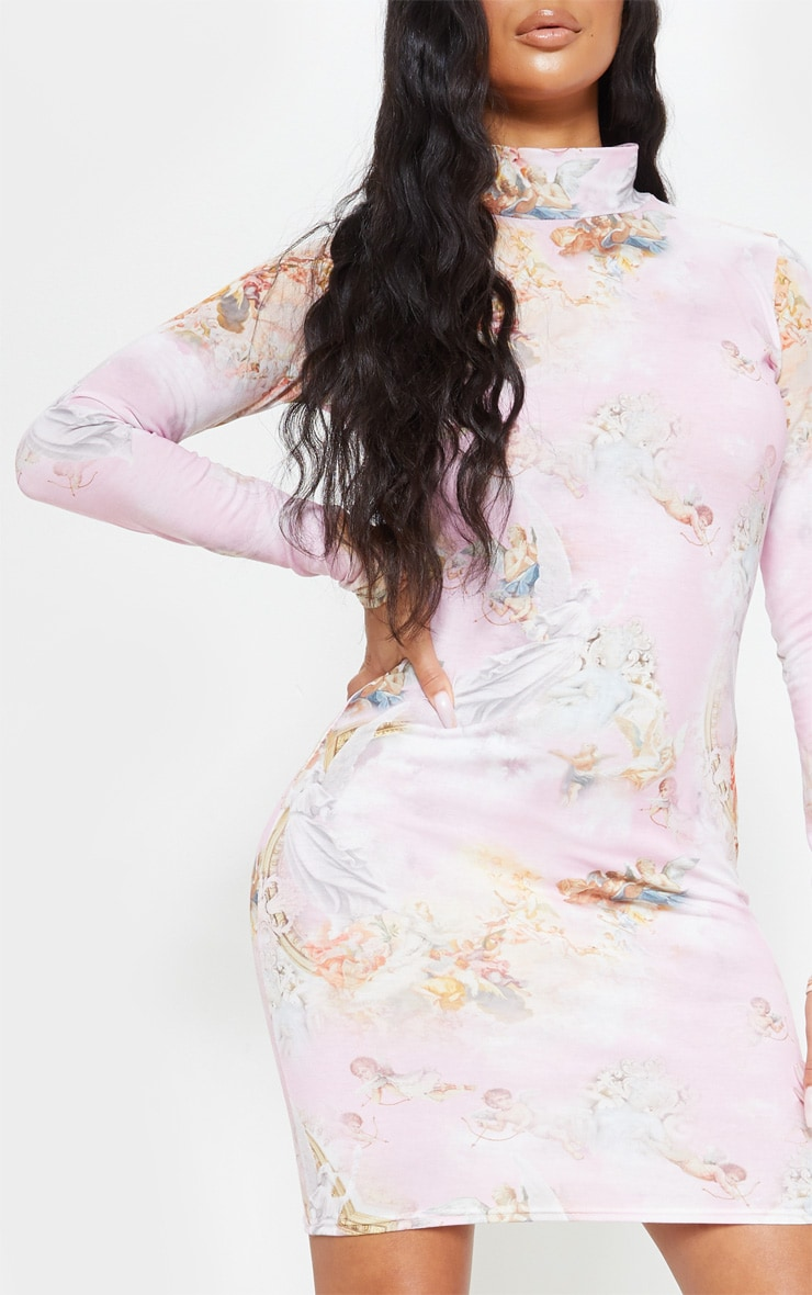 Pink Renaissance Printed High Neck Long Sleeve Bodycon Dress 5