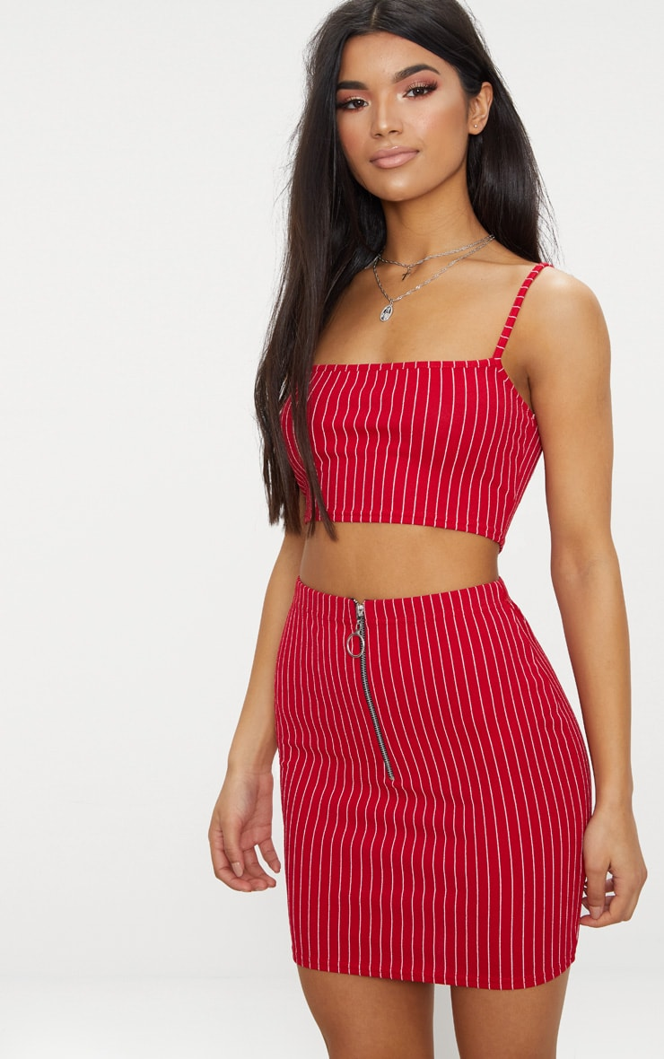 Red Pinstripe Mini Skirt