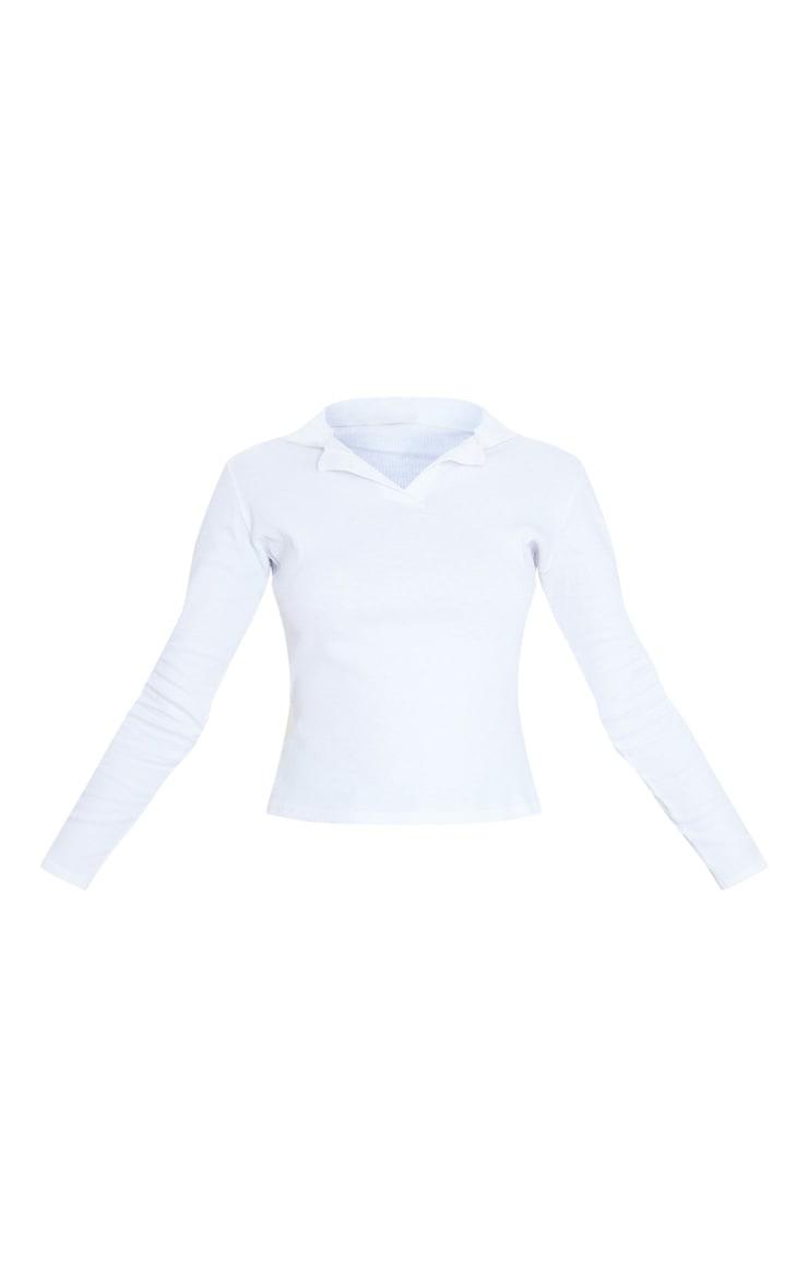 White Rib Collar Long Sleeve Top 3