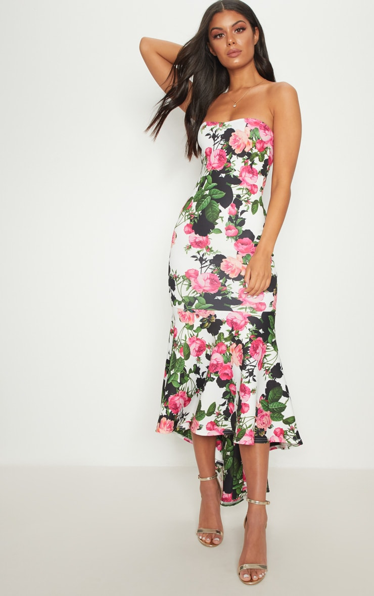 White Floral Bandeau Fishtail Midi Dress 2