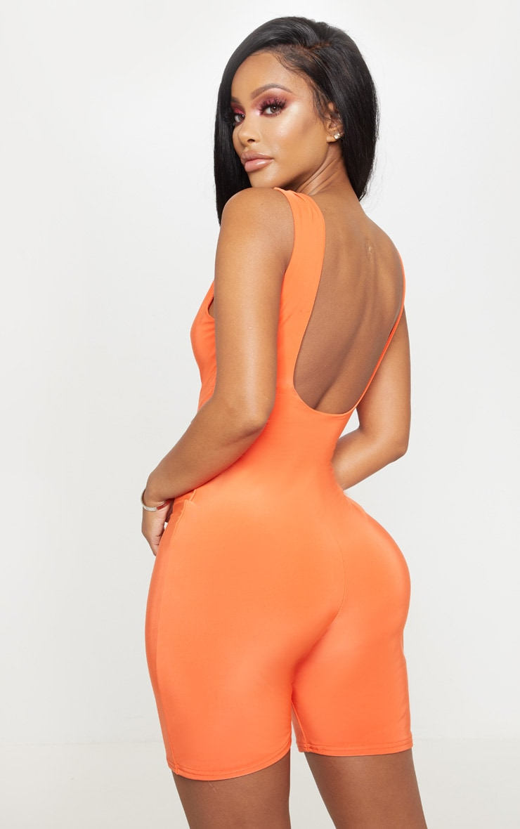 Shape Neon Orange Slinky Scoop Neck Unitard 2