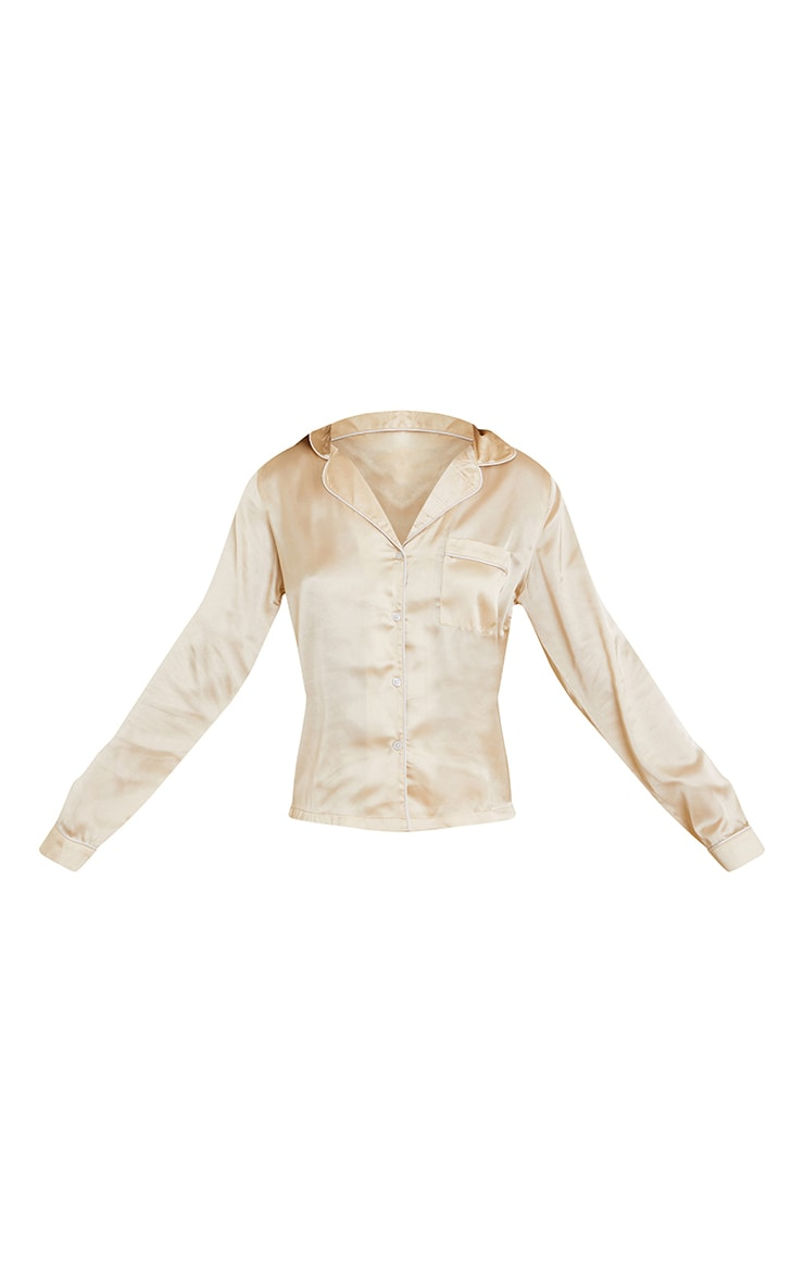 Champagne Mix And Match Piped Detail Satin Long Sleeve PJ Shirt 5