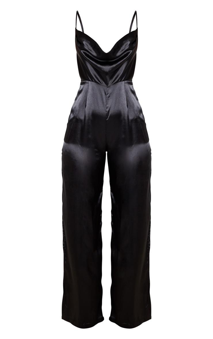Black Satin Cowl Neck Extreme Split Jumpsuit 3