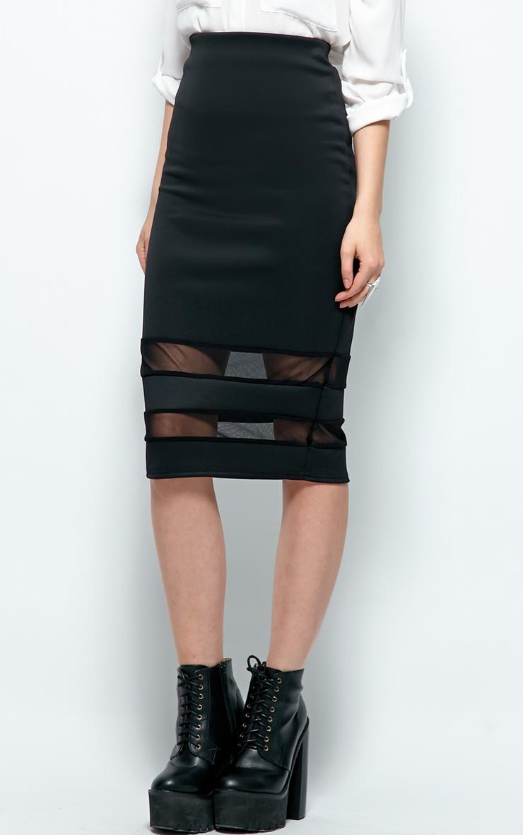 Cassandra Black Mesh Panel Midi Skirt 4
