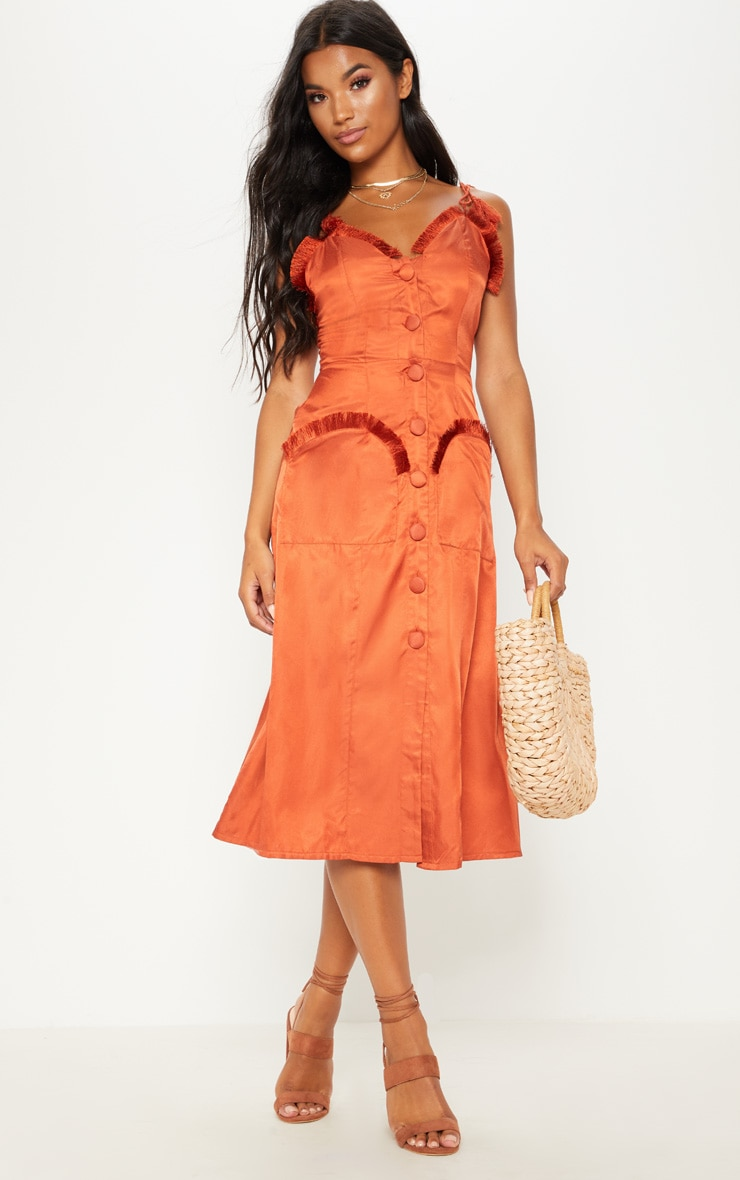 Rust Tie Shoulder Fringe Detail Button Midi Dress