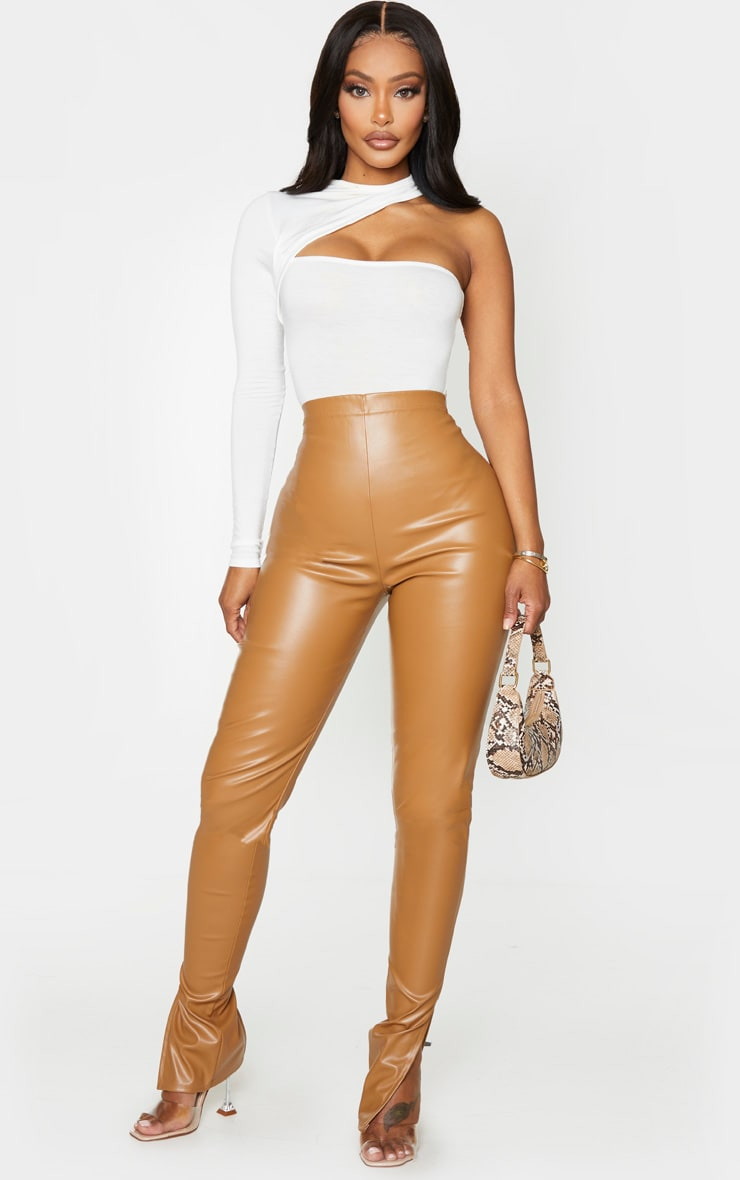 Shape Cream Jersey High Neck One Sleeve Bodysuit 4