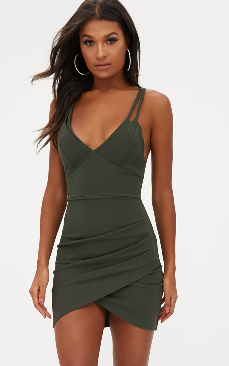 Khaki Double Strap Wrap Skirt Bodycon Dress 1