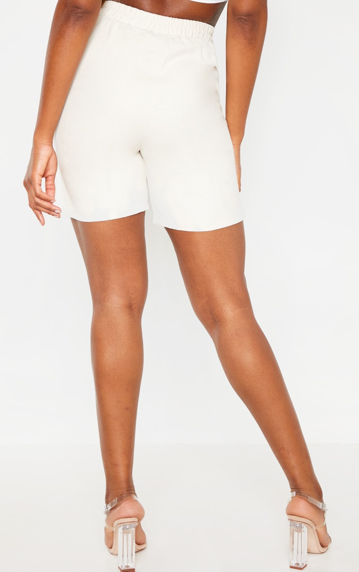 Cream Faux Suede Shorts 4