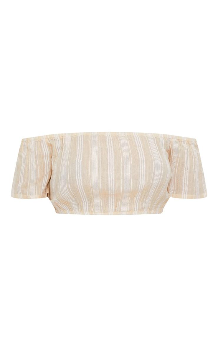 Stone Bardot Textured Stripe Crop Top 3