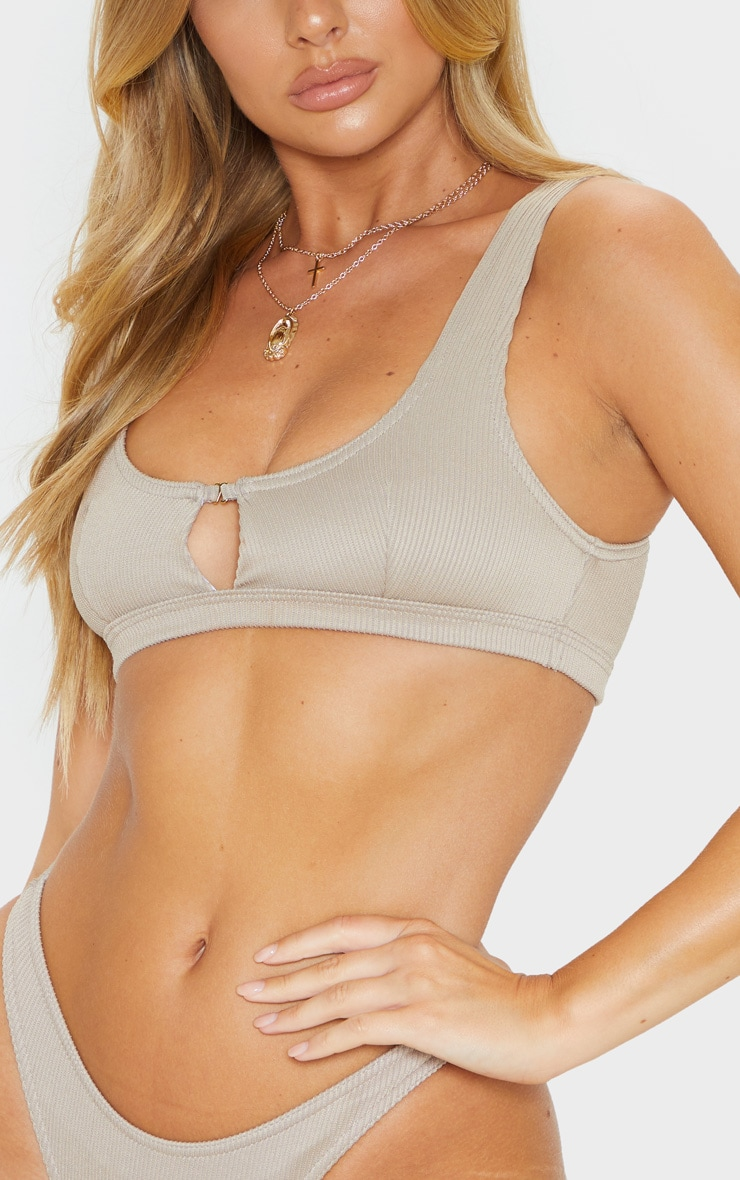 Pale Taupe Ribbed Cut Out Bikini Top 5