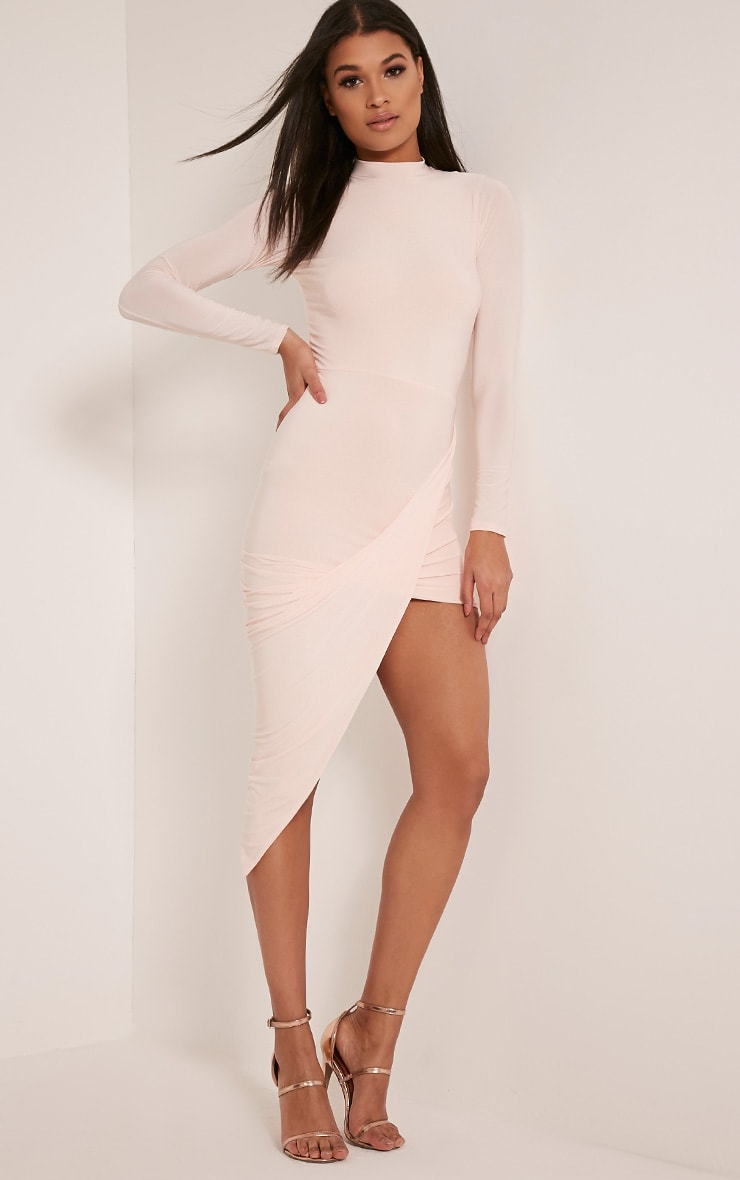 Petite Saffy Nude Long Sleeve Drape Dress 1