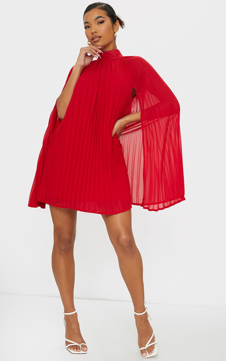 Red Pleated Cape High Neck Shift Dress 3