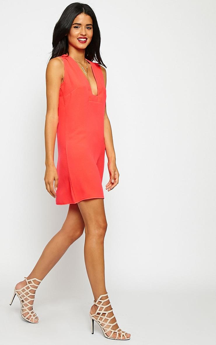 Jadako Neon Pink Sleeveless Loose Fit Square Neck Dress 3
