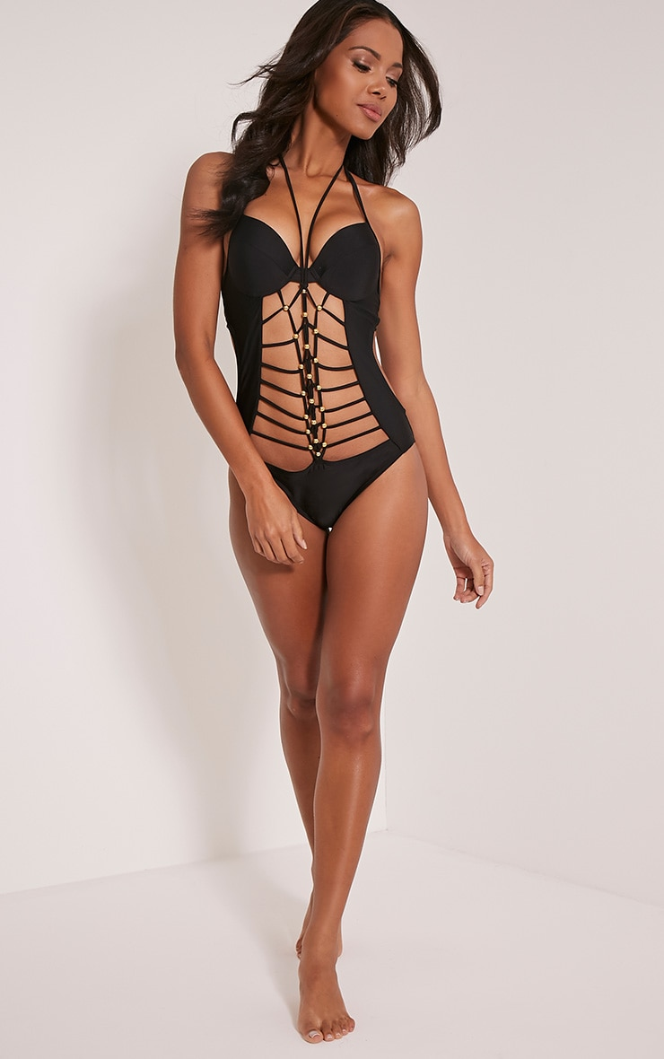 Portia Black Cut Out Strappy Swimsuit 5