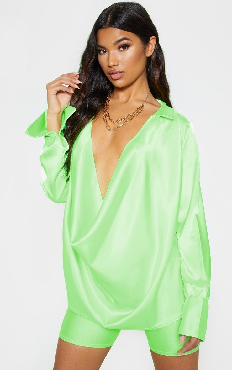 Neon Lime Extreme Cowl Longline Satin Shirt 4