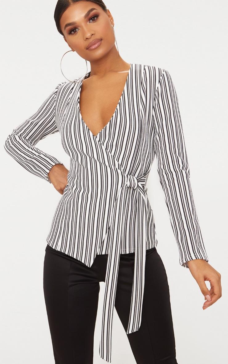 Monochrome Stripe Tie Side Blazer 1