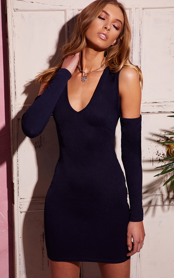 Navy Cold Shoulder Long Sleeve Plunge Bodycon Dress 1