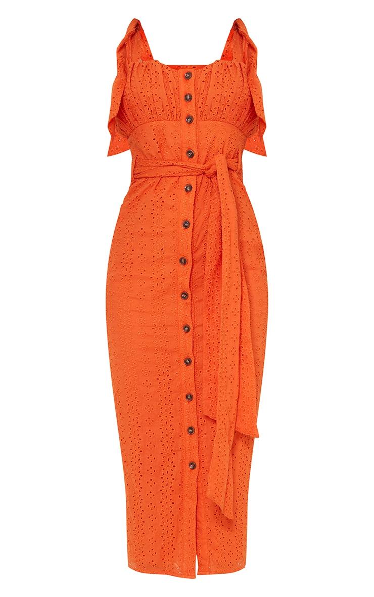Orange Broderie Anglaise Tie Shoulder Button Down Midi Dress 5