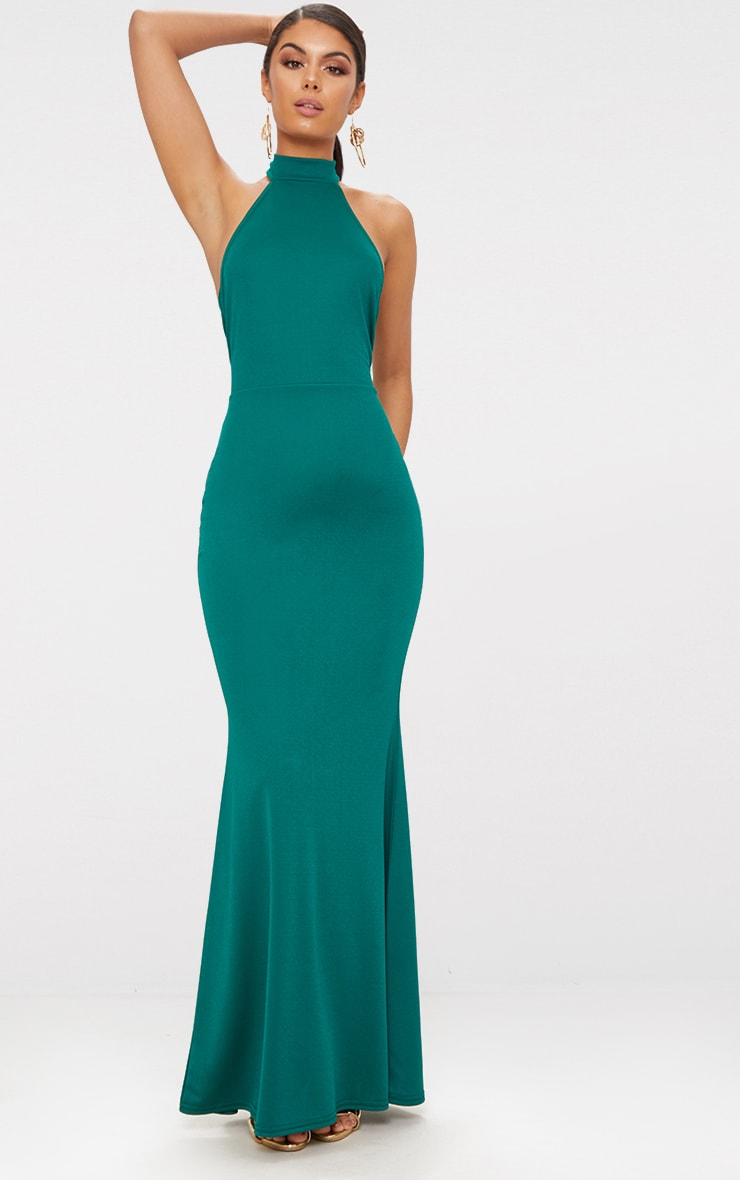 Emerald Green Cross Back High Neck Maxi Dress 1