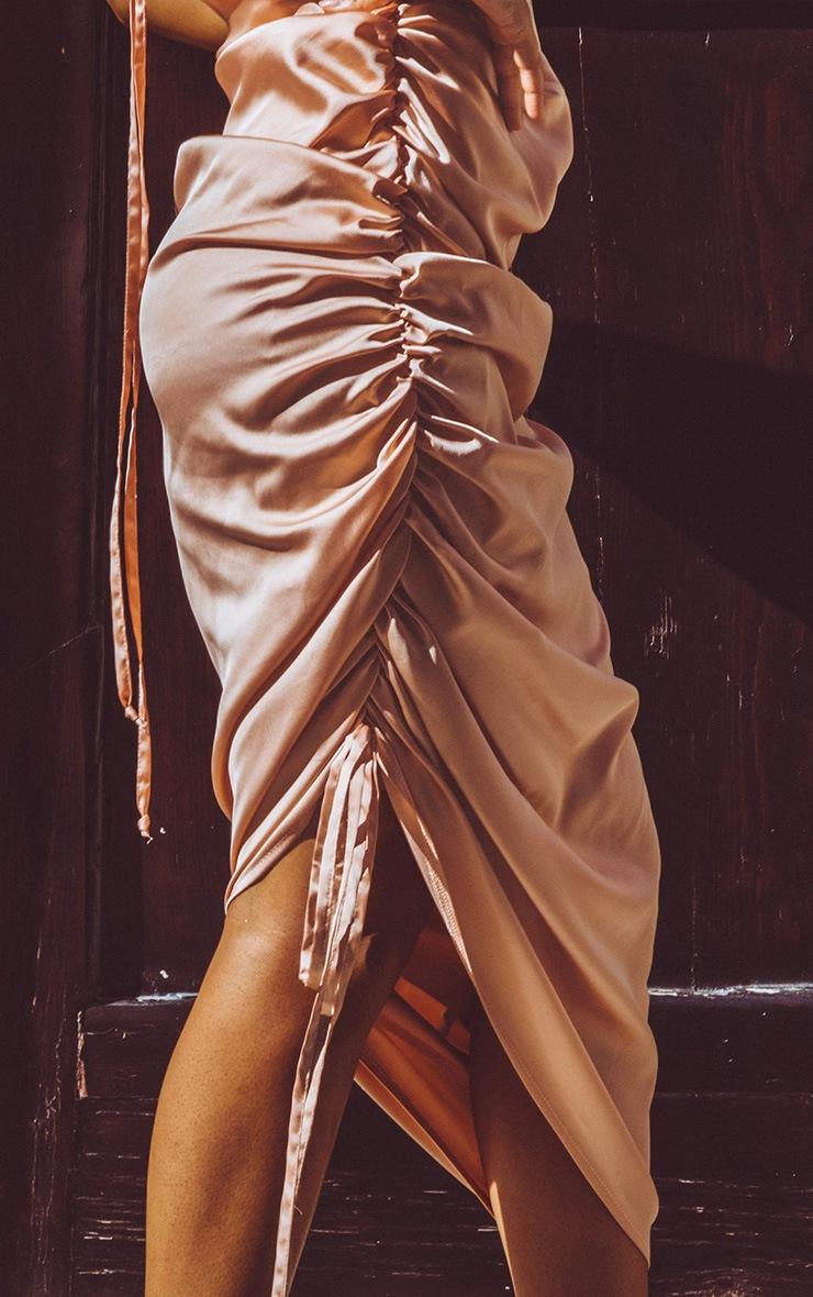 Peach Satin Ruched Seam Midi Dress 5