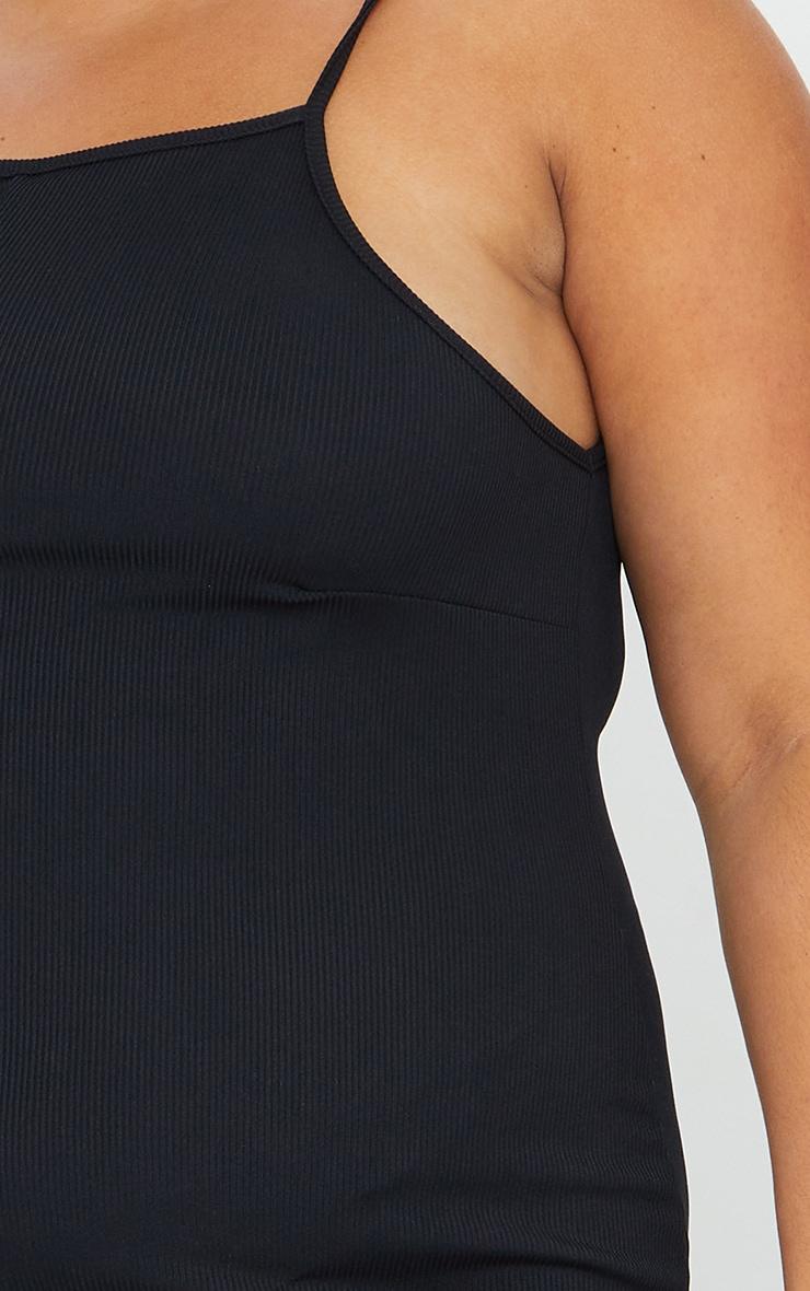 Plus Black Rib Wide Leg Culotte Jumpsuit 4