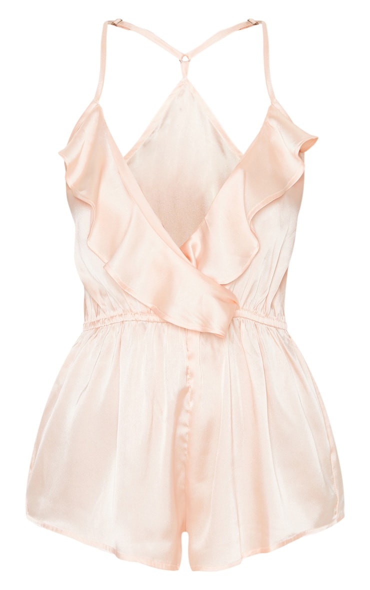 Pale Pink Satin Frill Teddy 3
