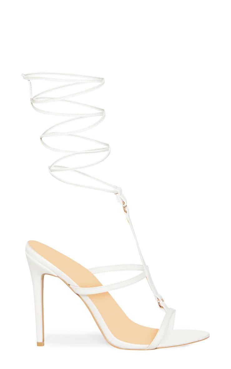 White Strappy Gladiator Sandal 3