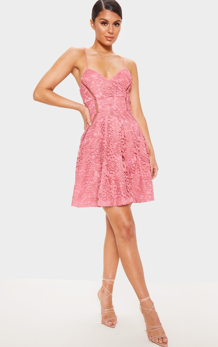Rose Strappy Lace Cami Skater Dress 1