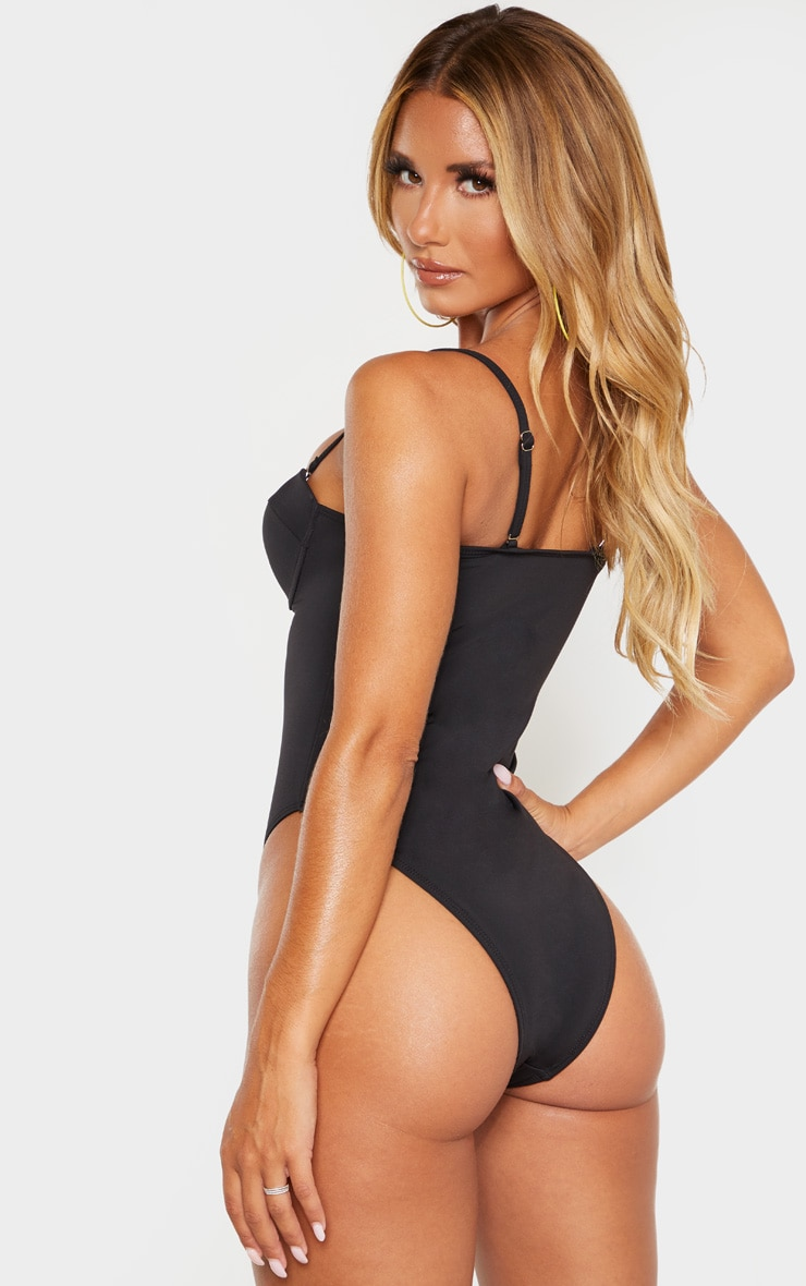Black Zip Up Cupped Scuba Swimsuit 2