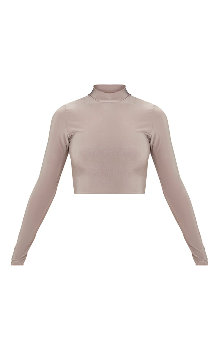 Taupe Slinky High Neck Long Sleeve Crop Top 3