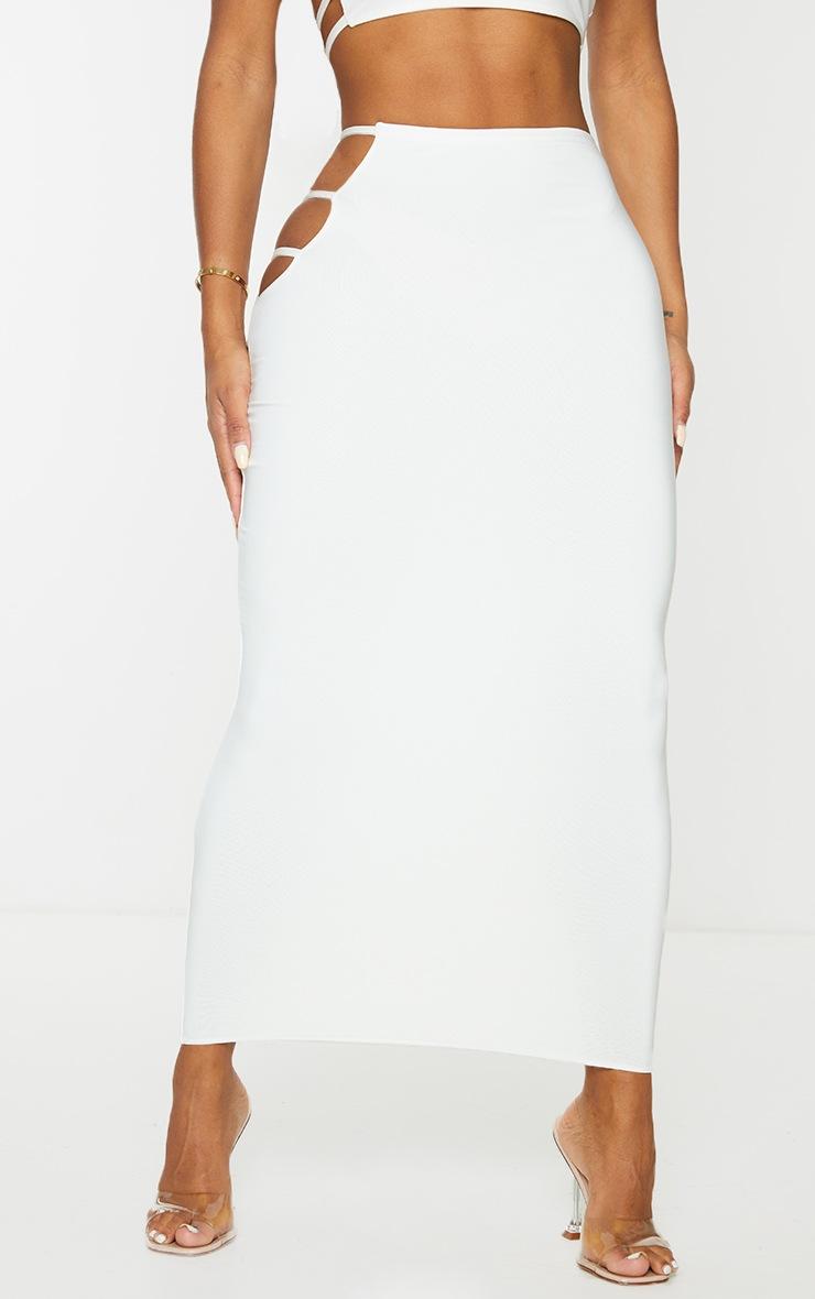 Shape Cream Slinky Cut Out Side Midi Skirt 2