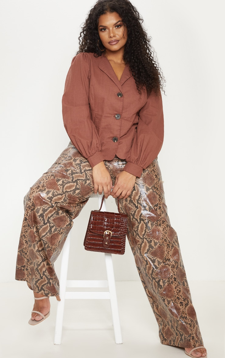 Plus Brown  Woven Button Front Puff Sleeve Top  1